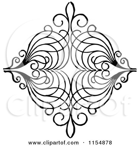 Clipart of a Retro Vintage Black and White Diamond Shaped Design Element 2 - Royalty Free Vector Clipart by Prawny Vintage