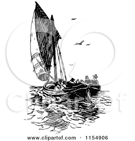 Clipart of a Retro Vintage Black and White Sailboat with Passengers - Royalty Free Vector Clipart by Prawny Vintage