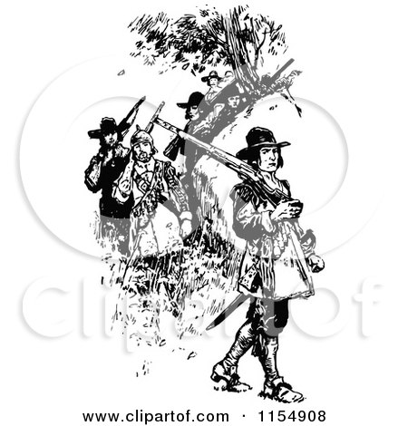 Clipart of Retro Vintage Black and White Soldiers - Royalty Free Vector Clipart by Prawny Vintage
