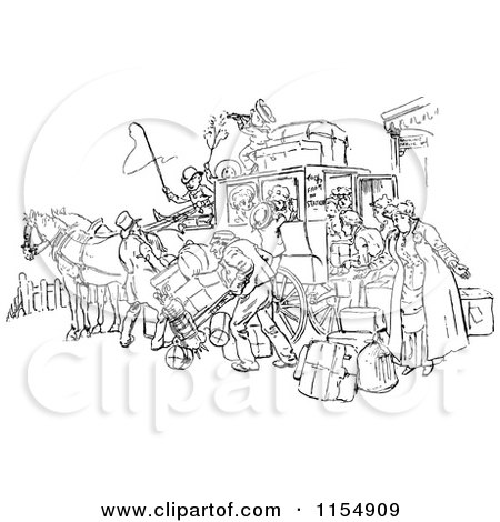 Clipart of a Retro Vintage Black and White Crowded Horse Drawn Stagecoach - Royalty Free Vector Clipart by Prawny Vintage
