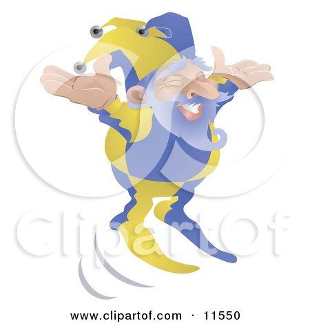 Old Joker or Jester Man Jumping Clipart Illustration by AtStockIllustration