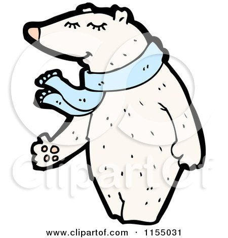 Cartoon of a Polar Bear Wearing a Scarf - Royalty Free Vector Illustration by lineartestpilot