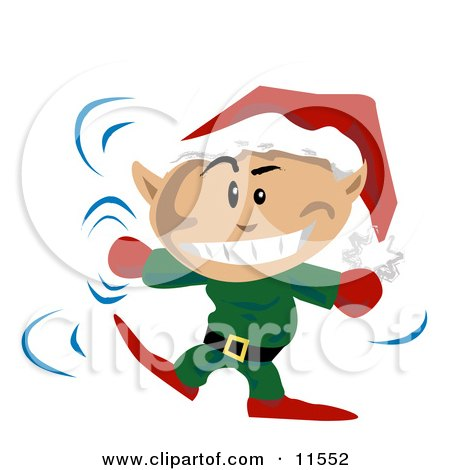 Christmas Elf Wearing a Santa Hat and Dancing Clipart Illustration by AtStockIllustration