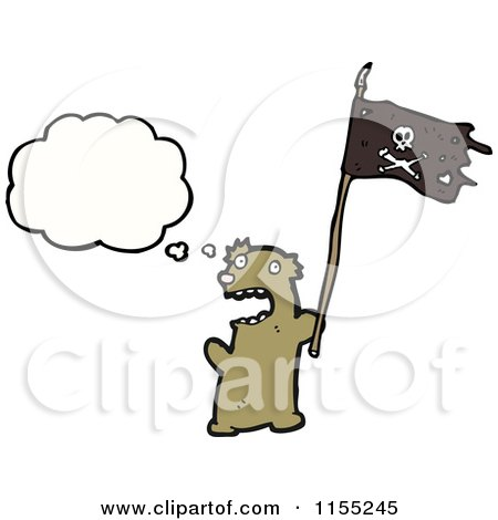 Cartoon of a Thinking Bear with a Pirate Flag - Royalty Free Vector Illustration by lineartestpilot