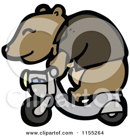 Cartoon of a Bear on a Scooter - Royalty Free Vector Illustration by lineartestpilot