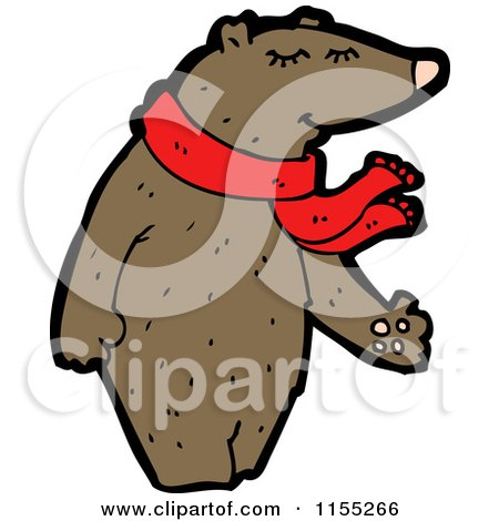 Cartoon of a Bear Wearing a Scarf - Royalty Free Vector Illustration by lineartestpilot