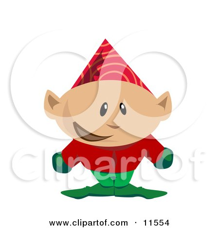 Christmas Elf in a Party Hat Clipart Illustration by AtStockIllustration