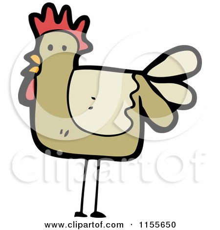 Cartoon of a Brown Chicken - Royalty Free Vector Illustration by lineartestpilot