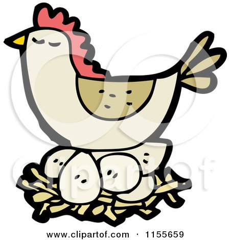 Cartoon of a Brown Chicken on a Nest - Royalty Free Vector Illustration by lineartestpilot