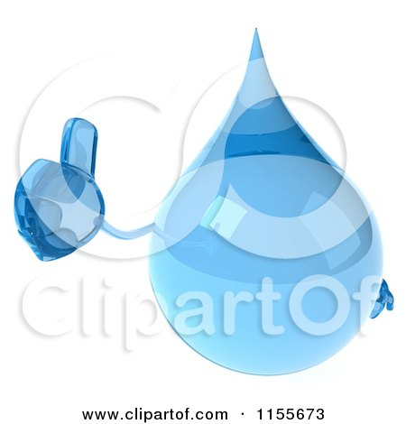 Clipart of a 3d Water Droplet Holding a Thumb up 1 - Royalty Free CGI Illustration by Julos