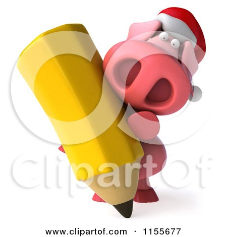 Clipart of a 3d Christmas Pig Writing with a Giant Pencil - Royalty Free CGI Illustration by Julos