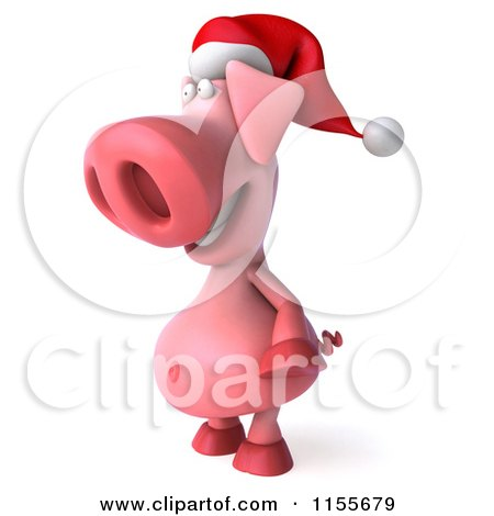 Clipart of a 3d Christmas Pig Facing Left 2 - Royalty Free CGI Illustration by Julos