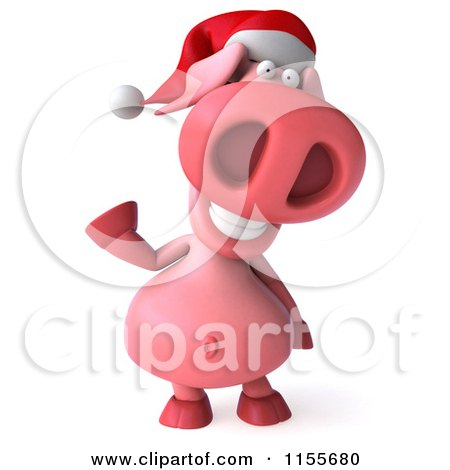 Clipart of a 3d Christmas Pig Waving - Royalty Free CGI Illustration by Julos