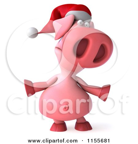 Clipart of a 3d Christmas Pig Shrugging - Royalty Free CGI Illustration by Julos