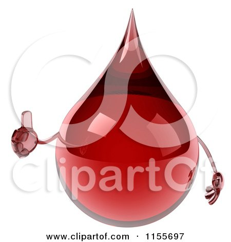 Clipart of a 3d Blood Drop Mascot Holding a Thumb up - Royalty Free CGI Illustration by Julos