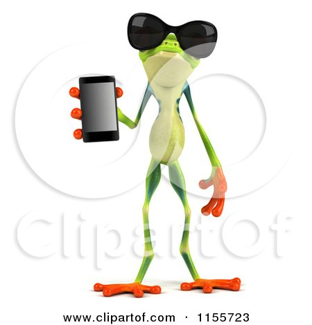 Clipart of a 3d Argie Frog Wearing Sunglasses and Holding a Smart Phone - Royalty Free CGI Illustration by Julos