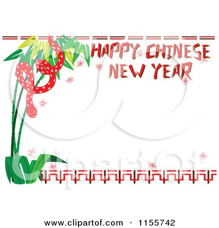 Cartoon of a Happy Chinese New Year Greeting and Snake Border - Royalty Free Vector Illustration by Cherie Reve
