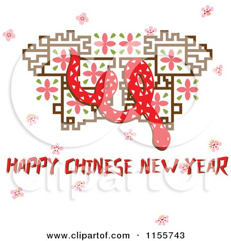 Cartoon of a Happy Chinese New Year Greeting with a Snake - Royalty Free Vector Illustration by Cherie Reve