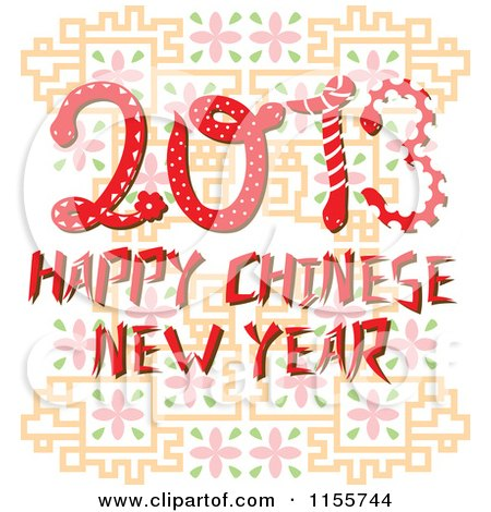 Cartoon of Happy Chinese New Year 2013 Snakes - Royalty Free Vector Illustration by Cherie Reve