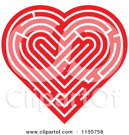 Clipart of a Red Labyrinth Heart - Royalty Free Vector Illustration by Zooco