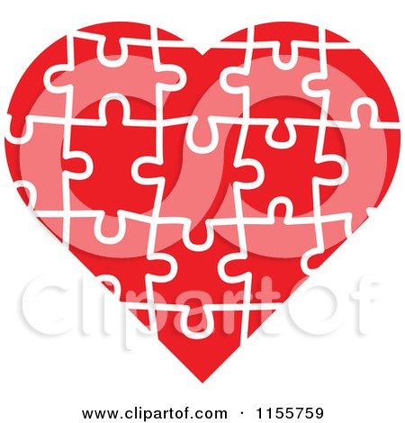 Clipart of a Red Puzzle Heart - Royalty Free Vector Illustration by Zooco