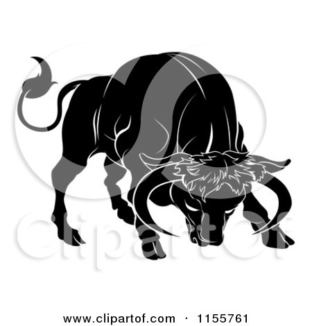 Black And White Horoscope Zodiac Astrology Charging Taurus Bull