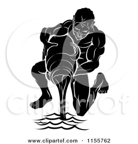 Black And White Horoscope Zodiac Astrology Aquarius Water