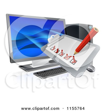 Clipart of a 3d Check List Clip Board over a Desktop Computer - Royalty Free Vector Illustration by AtStockIllustration