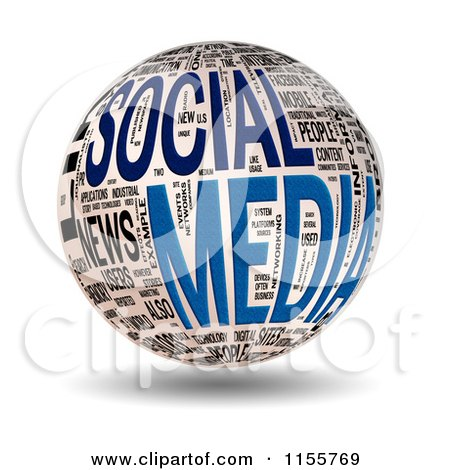 Clipart of a 3d Social Media Word Collage Sphere - Royalty Free CGI Illustration by MacX