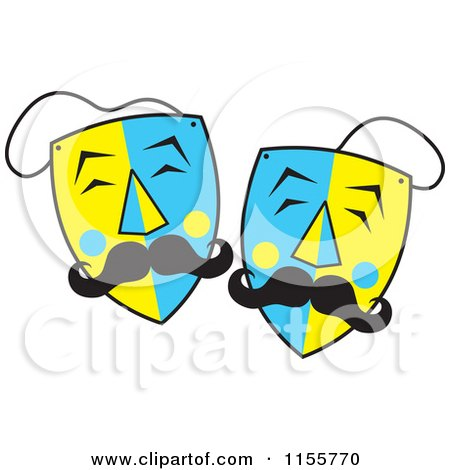 Cartoon of Blue and Yellow Mustached Theater Masks - Royalty Free Vector Illustration by Johnny Sajem