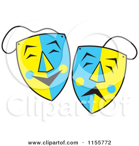 Cartoon of Blue and Yellow Comedy and Drama Theater Masks - Royalty Free Vector Illustration by Johnny Sajem