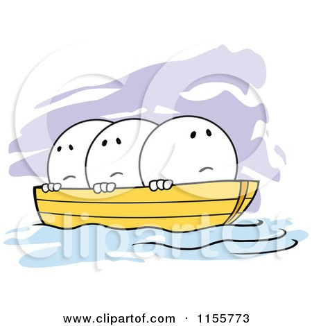 Cartoon of Nervous Moodie Characters in the Same Boat - Royalty Free Vector Illustration by Johnny Sajem