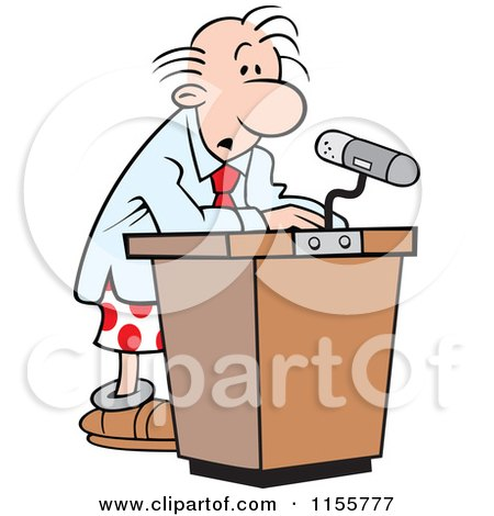 Cartoon of a Confused Speaker at a Podium in His Boxers - Royalty Free Vector Illustration by Johnny Sajem