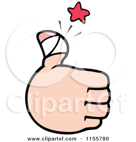 Cartoon of a Hand Holding up a Sore Thumb - Royalty Free Vector Illustration by Johnny Sajem