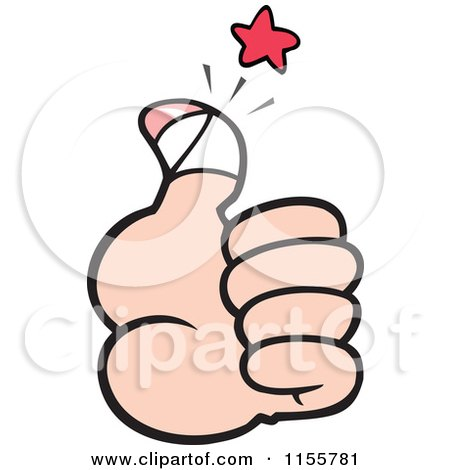 Cartoon of a Hand Holding a Sore Thumb up - Royalty Free Vector Illustration by Johnny Sajem
