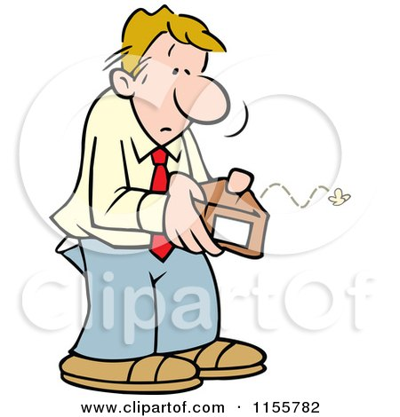 Cartoon of a Broke Man Opening an Empty Wallet - Royalty Free Vector Illustration by Johnny Sajem