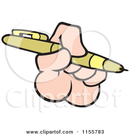 Cartoon of a Hand Holding a Pen - Royalty Free Vector Illustration by Johnny Sajem