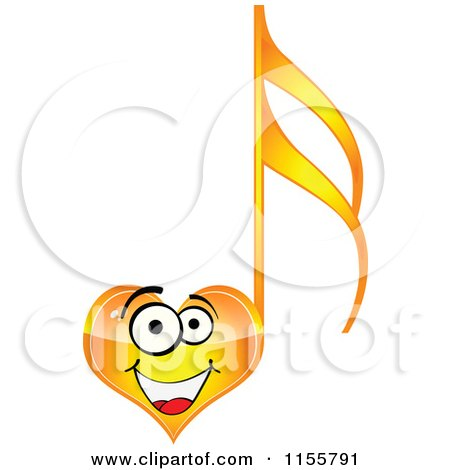 Clipart of a Happy Yellow Heart Music Note - Royalty Free Vector Illustration by Andrei Marincas