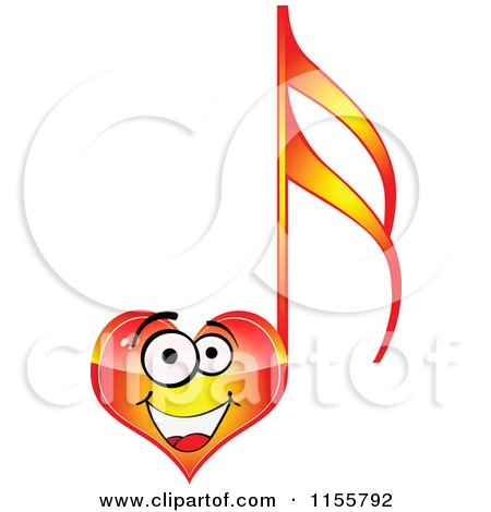 Clipart of a Happy Red Heart Music Note - Royalty Free Vector Illustration by Andrei Marincas