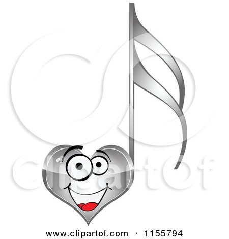 Clipart of a Happy Silver Heart Music Note - Royalty Free Vector Illustration by Andrei Marincas
