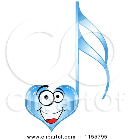 Clipart of a Happy Blue Heart Music Note - Royalty Free Vector Illustration by Andrei Marincas