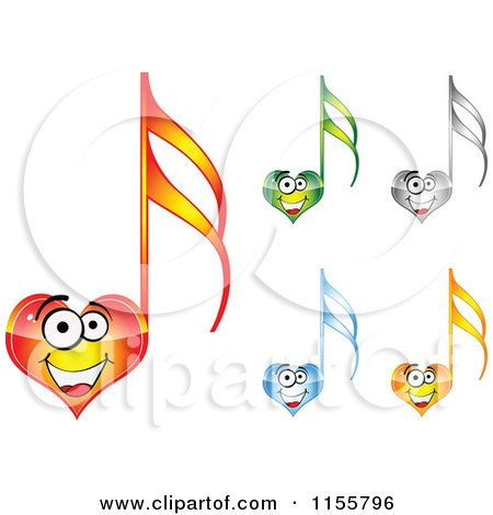 Clipart of Happy Heart Music Notes - Royalty Free Vector Illustration by Andrei Marincas