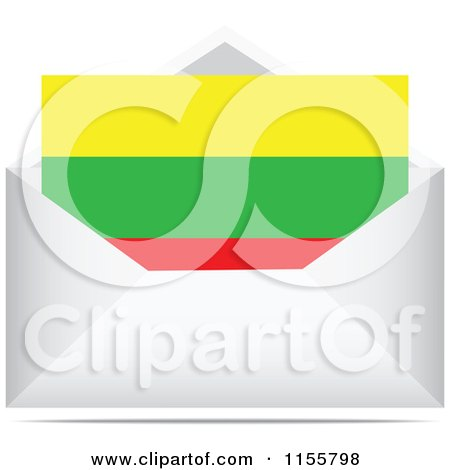 Clipart of a Lithuanian Flag Letter in an Envelope - Royalty Free Vector Illustration by Andrei Marincas