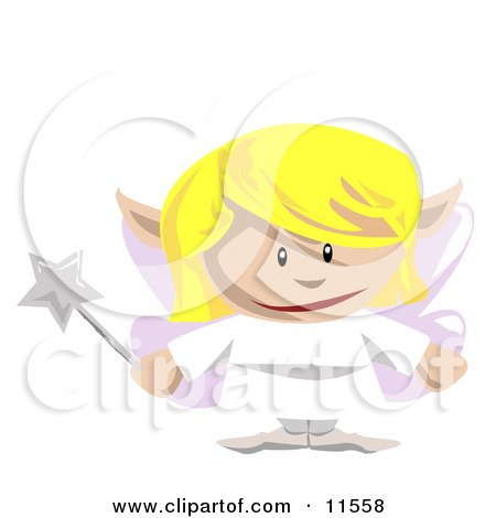 Cute Blond Fairy Holding a Magic Wand Posters, Art Prints