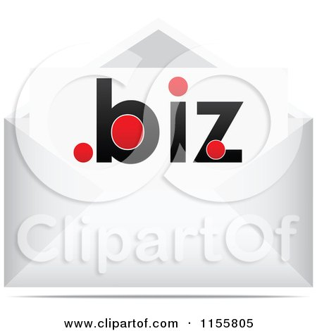 Clipart of a Dot Biz Letter in an Envelope - Royalty Free Vector Illustration by Andrei Marincas