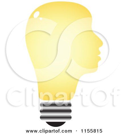 Clipart of a Yellow Lightbulb Head - Royalty Free Vector Illustration by Andrei Marincas