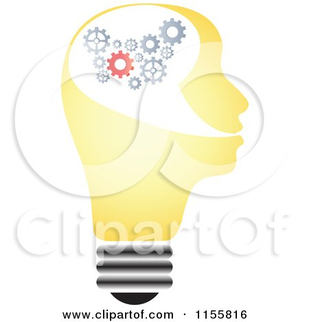 Clipart of a Yellow Lightbulb Head with Gears - Royalty Free Vector Illustration by Andrei Marincas