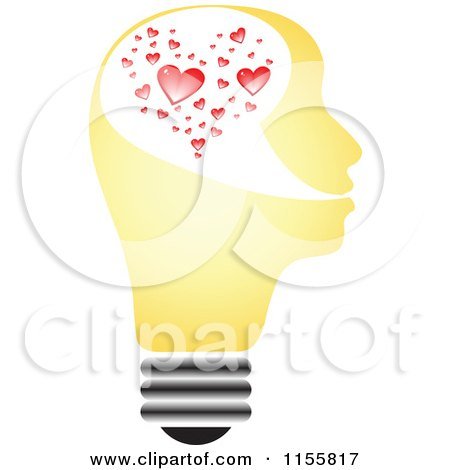 Clipart of a Yellow Lightbulb Head with Hearts - Royalty Free Vector Illustration by Andrei Marincas