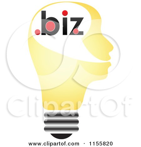 Clipart of a Yellow Lightbulb Head with Dot Biz - Royalty Free Vector Illustration by Andrei Marincas