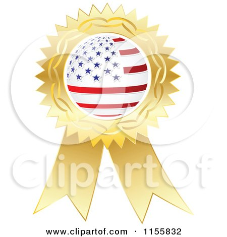 Clipart of a Gold American Medal - Royalty Free Vector Illustration by Andrei Marincas